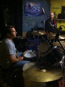 We were recording practices by this time, trying to get the best set up for the drums as we would record the kit in this very room
